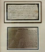Timothy Pickering 3rd Us Secretary Of State, Federalist 1783 Signed Letter