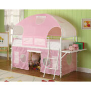 Saltoro Sherpi Metal Frame Fairy Tent Bunk Bed With Fabric Covering White And