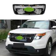 For Ford Explorer 2011-15 Gloss Black Front Center Mesh Grille Grill Cover Trim