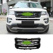 For Ford Explorer 2016-17 Gloss Black Front Center Mesh Grille Grill Cover Trim