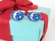 And Co Silver Enamel Man In The Moon Rare Cufflinks Packaging Box Pouch
