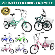 Adult Folding Tricycle 7 Speed 20inch 3wheel Cruiser Bike With Basket Shopping