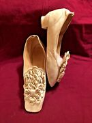Antique White Leather Straight Sole Shoes With Large Leather Rosettes