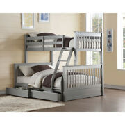 Saltoro Sherpi Wooden Twin/full Bunk Bed With 2 Drawers Gray