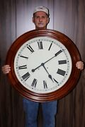 Antique Gallery School Wall Clock Time And Strike 30 Inch - Excellent Working