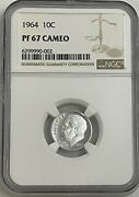 1964 Ngc Pf67 Cameo 90 Silver Roosevelt Dime 10c Great Eye Appeal Uncirculated