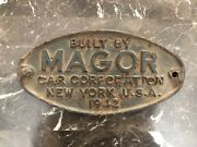 Vintage 1942 Magor Car Corp. New York Railroad Car Cast Iron Sign Plaque Plate