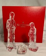 Waterford Crystal Nativity Collection Holy Family 3 Piece Set In Box....mint