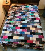 Wool Quilt - Vintage Block Patch Tied Cutter 81 X 90 Repurpose Craft Fabric