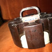 Vintage Hoyle Poker Chip Caddy 1960's With Clay Chips