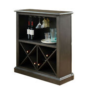 Saltoro Sherpi Wooden Bar Table With X Shaped Wine Holders And Wide Shelf, Gray