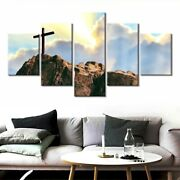 5 Panel Framed Religion Cross Mountain Canvas Picture Wall Art Hd Print Decor