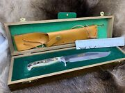 1987 6376 Big Bowie Knife Stag Handle And Sheath Presentation Box And Tag Mint