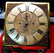 Antique English Tall Case Clock Movement And Bronze/brass Dial-1770-1800