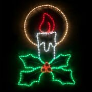 40 Candle W/ Holly Led Rope Light Hanging Outdoor Christmas Decoration