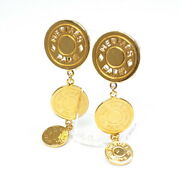 Hermes Serie Earrings Gp Gold Triple Clip Type Button Costume Jewelry Hanging