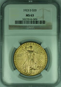 1923-d St. Gaudens Double Eagle Gold 20 Coin Ngc Ms-63