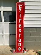 Firestone X-large Heavy Embossed Metal Sign Dated 1971 72x 12 , Great Sign