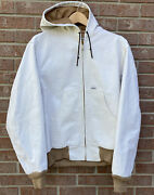 Thermal Lined Duck Canvas Hooded Work Jacket White Men Size Small Rare