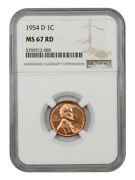 1954-d 1c Ngc Ms67 Rd - Lincoln Cent