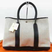 Hermes Garden Party Pm Optical H Tote Bag Black France Women Very Good 72907