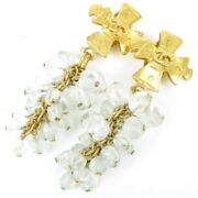 Coco Mark Cross Cross Puzzle Earring Gold Color Women 73061 Very Good