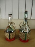 2 Vintage Tipo Italian Swiss Colony Wine Bottles Tight Wrapped Empty Lot