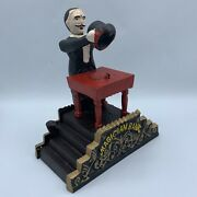 Magician Mechanical Cast Iron Bank Disappearing Coin Trick Heavy Duty