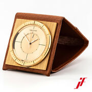 Travel Alarm Clock Table Jaeger-lecoultre Memovox Hand Wound Brass Leather Top