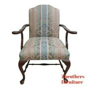 Ethan Allen Georgian Court Chippendale Carved Fireside Lounge Arm Chair