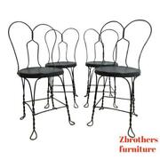4 Antique Wire Metal Ice Cream Parlor Salon Game Table Side Chairs