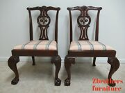 2 Baker Furniture Mahogany Ball Claw Chippendale Dining Room Side Chairs B