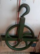 Antique Cast Iron 12 Inch Steampunk Pulley Wheel With Hook And Bracket