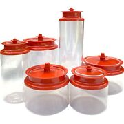 Vintage Tupperware Clear Acrylic Canister Orange Counterpart Push Top Lids Set 6