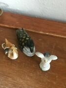 Lot Of 3 Small Mini Carved Painted Wood Canadian Goose Porcelain Duck And White Se