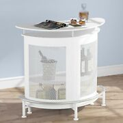 Modern Bar Unit With Metal Mesh Front With 2 Storage Shelves And 3 Stemware Racks