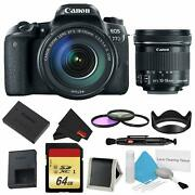 Canon Eos 77d Dslr Camera +18-135mm Lens Bundle W/ 3 Piece Filter And Memory Kit +