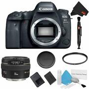 Canon Eos 6d Mark Ii Dslr Camera Body Only Basic Filter Bundle + Canon Ef 50mm