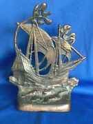 Vtg Cast Iron 4 Stylized Pirate - Nautical Sailing Ship Door Stop - Bookend