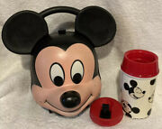 Vintage Disney's Mickey Mouse Lunch Box Kit W/ Original Thermos By Aladdin