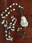 Rosary Inspired By Antique French Reliquary Shell Mother Of Pearl Necklace