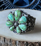 Happy Piasso Sonoran Gold Turquoise Sterling Fan Cuff Signed