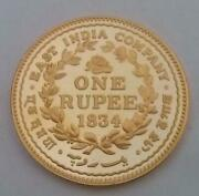 Hallmarked 1834 East India George Iv Silver One Rupee Coin Gold Plated Restrike