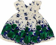 New Janie And Jack Ivory Blue And Green Floral Special Occasion Dress Girls Size 2t