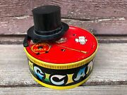 Vintage Magician Tin Magic Coin Bank W Top Hat And Mouse Yone Japan C.1950and039s