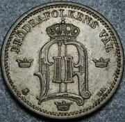 1902 Sweden Near Uncirculated Silver 25 Ore King Oscar Ii With Brodrafolkens Val
