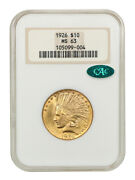 1926 10 Ngc/cac Ms63 Oh Old Ngc Holder - Indian Eagle - Gold Coin