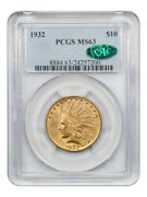 1932 10 Pcgs/cac Ms63 - Indian Eagle - Gold Coin