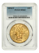 1894-s 20 Pcgs Ms62 - Liberty Double Eagle - Gold Coin