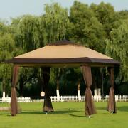 12'x12' Pop-up Canopy Gazebo Outdoor Tent W/ Air Vent And Netting Sidewalls